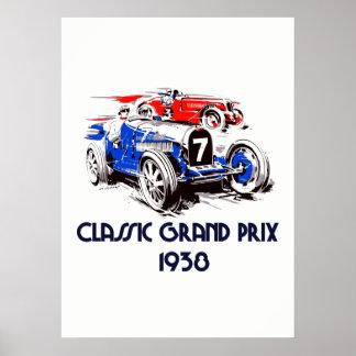 Klassische Autos Grandprix 53 x 73 der Retro Art Poster