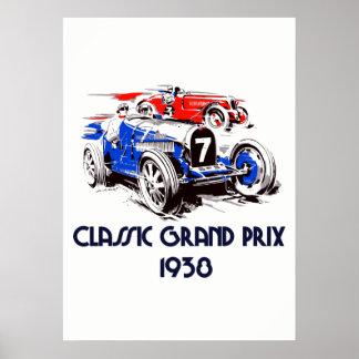Klassische Autos Grandprix der Retro Art 51 x71 Poster
