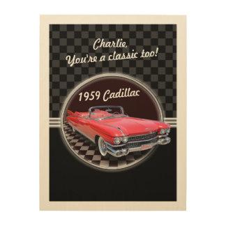 Klassische Cadillac-Holz-Plakette Holzdruck