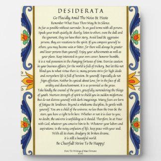 Klassische Desiderata mit blühen Fotoplatte