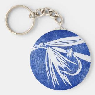 """Klassische Forelle-Fliege Keychain """"blaue nasse Standard Runder Schlüsselanhänger"""
