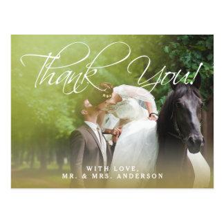 Klassische Foto-Hochzeit des Skript-  danken Ihnen Postkarte
