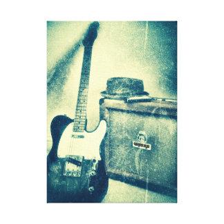 klassische Gitarre mit Amperebluesman-Leinwand Leinwanddruck