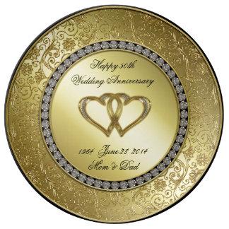 Klassische goldene Hochzeitstag-Porzellan-Platte Porzellanteller