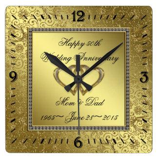 Klassische goldene Hochzeitstag-Wanduhr Wanduhr