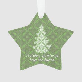 Klassische grüne Feiertags-Damast-Baum-Grüße Ornament