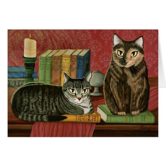 Klassische literarische Katzen Poe, Dickens Grußkarte