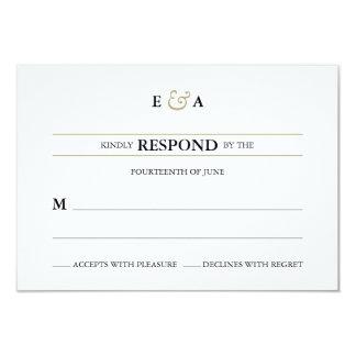 Klassische Monogramm-Goldantwort 8,9 X 12,7 Cm Einladungskarte