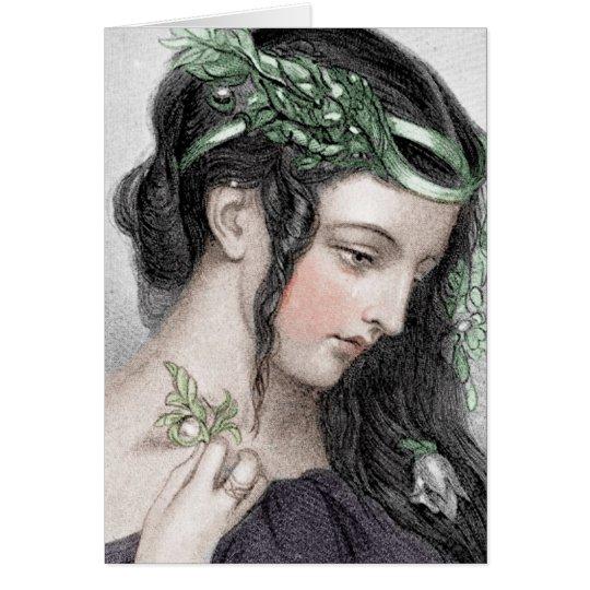 Klassische Schönheit mit belaubtem Stirnband Karte