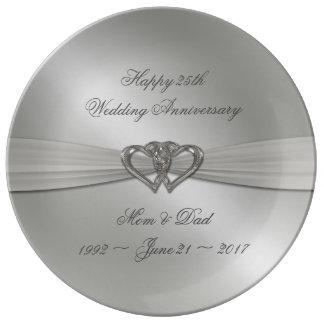 Klassische silberne Hochzeitstag-Porzellan-Platte Teller Aus Porzellan
