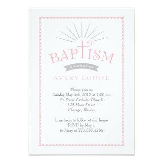 Klassische Strahlen-Rosa-Taufe-Einladung 12,7 X 17,8 Cm Einladungskarte