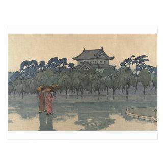 Klassische Vintage Ukiyo-e japanische regnerische Postkarte