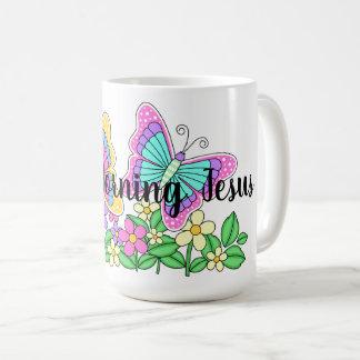 Klassische weiße Tasse gutenmorgen-Jesuss