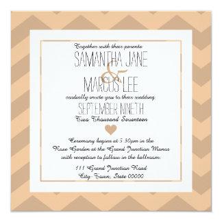 Klassische Zickzack Hochzeits-Einladung Quadratische 13,3 Cm Einladungskarte
