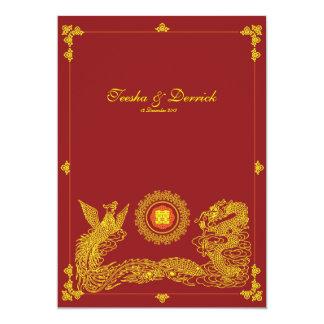 Klassischer Drache Phoenix chinesisches wedding 12,7 X 17,8 Cm Einladungskarte