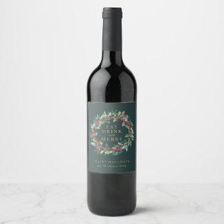 Klassischer Feiertags-Kranz-Wein-Aufkleber Weinetikett