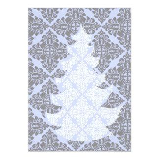 Klassischer moderner Damast-Muster-Weihnachtsbaum Karte