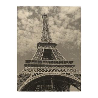 Klassischer Schwarzweiss-Eiffelturm Holzwanddeko