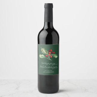 Klassischer Stechpalmen-Beeren-Wein-Aufkleber Weinetikett