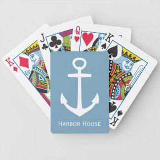 Klassischer weißer Anker auf Carolina-blauem Bicycle Spielkarten