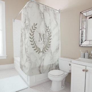 Klassischer weißer Marmor mit den Taupe-Lorbeer Duschvorhang