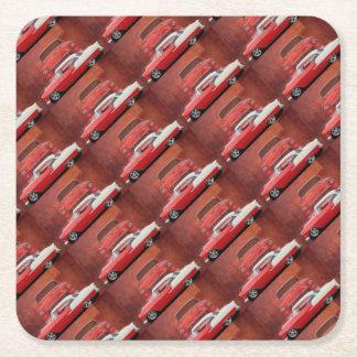 Klassisches Auto Chevy Bel Air Dodge-rotes weißes Rechteckiger Pappuntersetzer