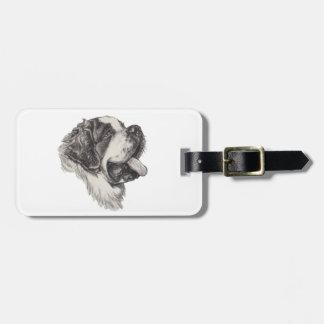 Klassisches Bernhardiner-Hundeporträt-Zeichnen Gepäckanhänger