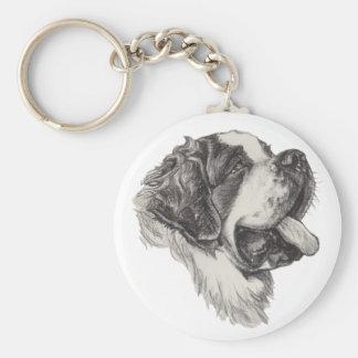 Klassisches Bernhardiner-Hundeporträt-Zeichnen Schlüsselanhänger