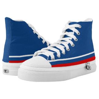 Klassisches Blau mit weißer und roter Ordnung Zipz Hoch-geschnittene Sneaker