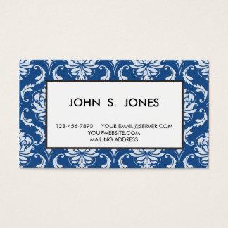 Klassisches blaues Damast-Muster Visitenkarte