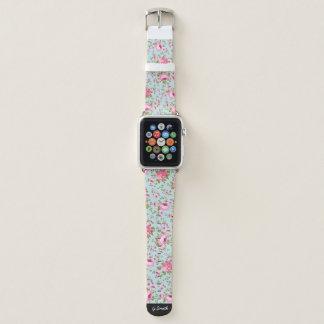 Klassisches Blumenmuster auf blauem Hintergrund Apple Watch Armband