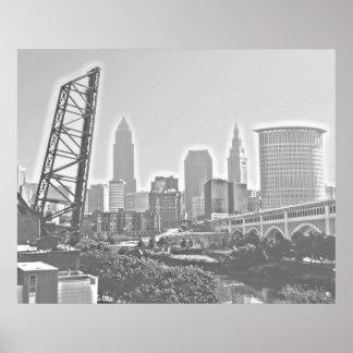 Klassisches Cleveland-Fluss-Ansicht-Skyline-Plakat Poster
