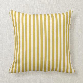 Klassisches dünnes Streifen-Senf-Gelb und Creme Kissen
