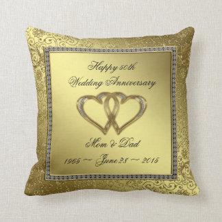 Klassisches goldenes Hochzeitstag-Wurfs-Kissen Zierkissen