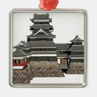 Klassisches japanisches Schloss Silbernes Ornament