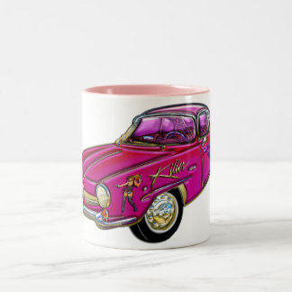 Klassisches kleines rosa Sport-Auto Zweifarbige Tasse