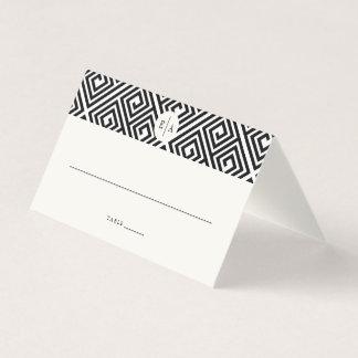 Klassisches Monogramm-geometrische griechische Platzkarte