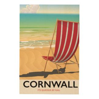 Klassisches Reiseplakat Cornwall-Strandes Holzleinwand