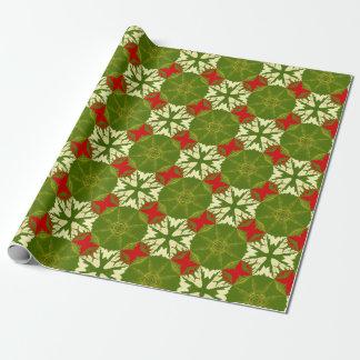 Klassisches schickes Goldrote grüne Geschenkpapier