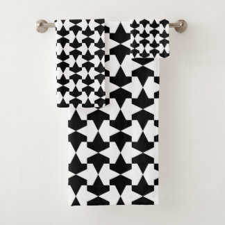 Klassisches Schwarzweiss-Mamluks Muster Badhandtuch Set