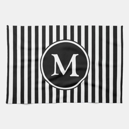 Klassisches Schwarzweiss-Streifen-Muster-Monogramm Handtücher
