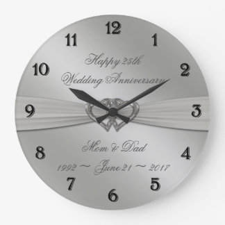 Klassisches Silber-25. Hochzeitstag-Wanduhr Große Wanduhr