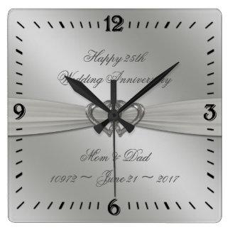 Klassisches Silber-25. Hochzeitstag-Wanduhr Quadratische Wanduhr