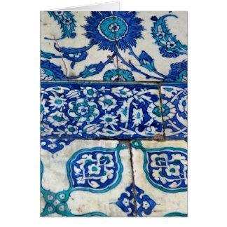 Klassisches Vintages iznik blaue und weiße Karte