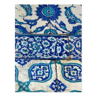 Klassisches Vintages iznik blaue und weiße Postkarte