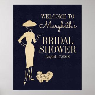 Klassisches Vintages Mode-Brautparty-willkommenes Poster