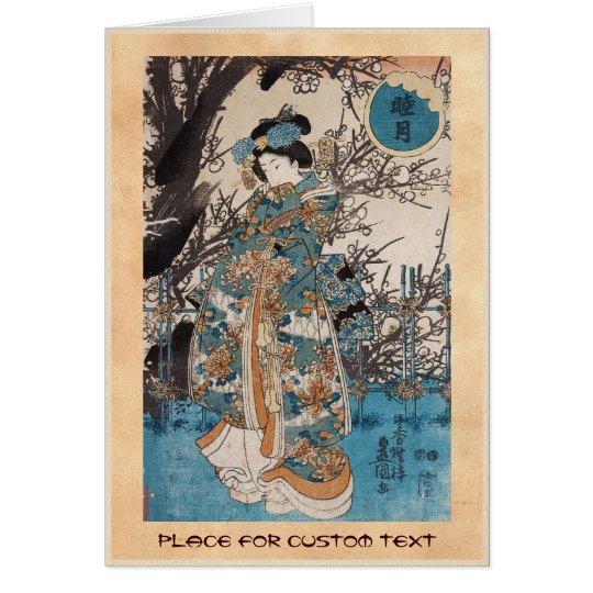 Klassisches Vintages ukiyo-e japanisches Mitteilungskarte