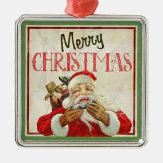 Klassisches Vintages Weihnachtsmann-Weihnachten Silbernes Ornament