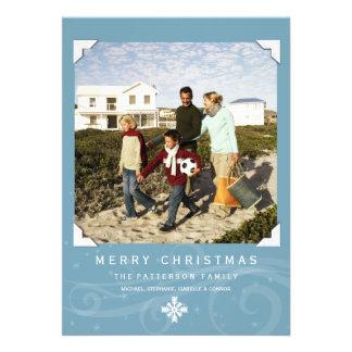 Klassisches Weiß des Weihnachtsgruß-Foto-Karten-Bl Einladungskarten