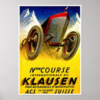 Klausen Rennen ~ Vintage Automobil-Anzeige Poster
